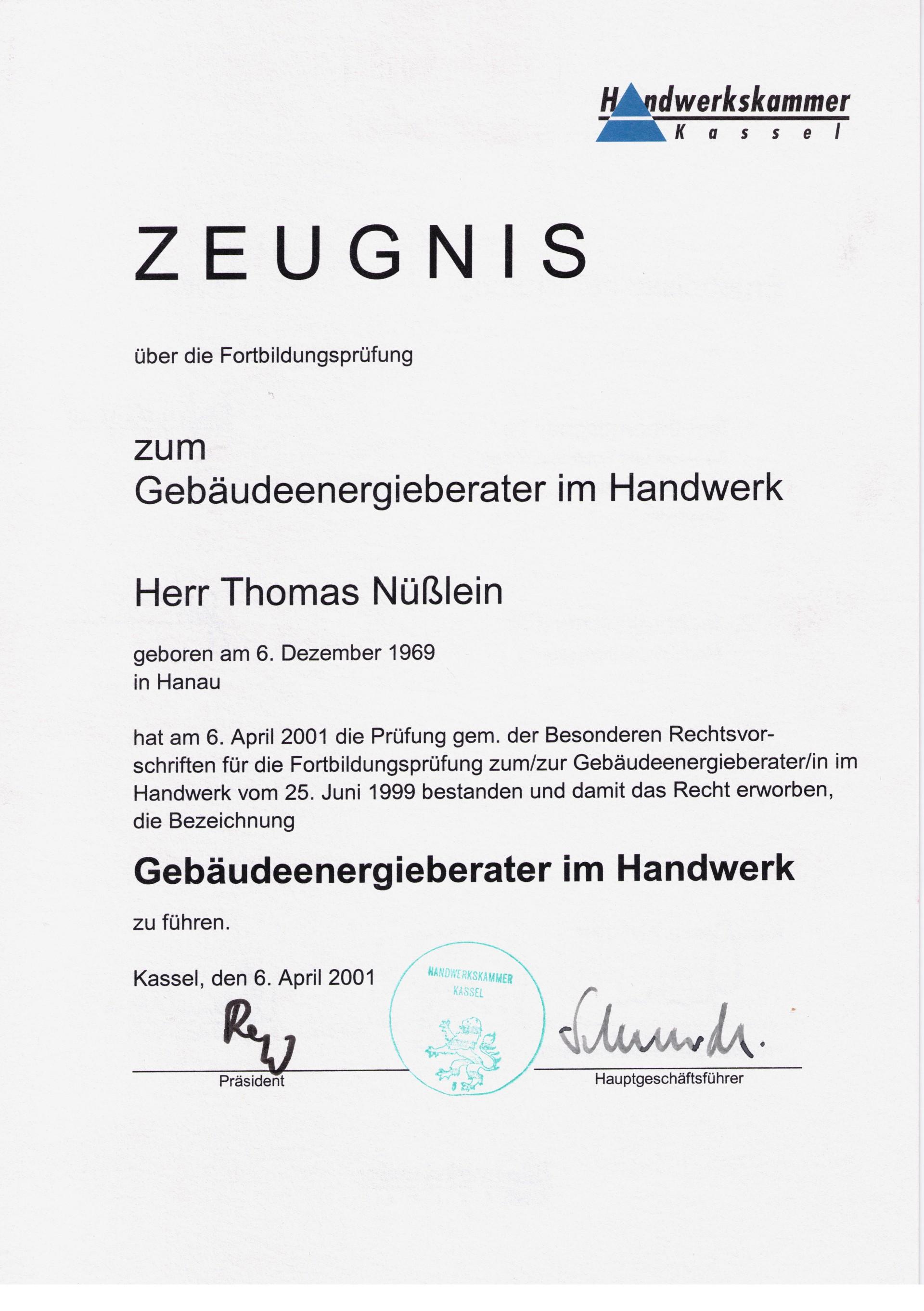 Energieberatung Kassel zertifikate energieberatung nüsslein